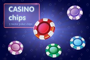 Set of colorful casino chips. Vector