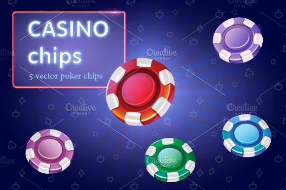 Set of colorful casino chips. Vector - Objects