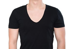 Strong man in black blank t-shirt