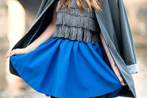 woman street fashion look with skirt