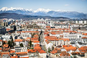 Top viev to Ljubljana city