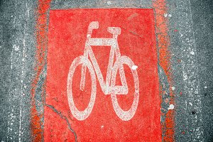 Red Bicycle road sign on road