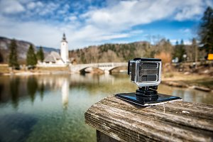 action camera filming landscape
