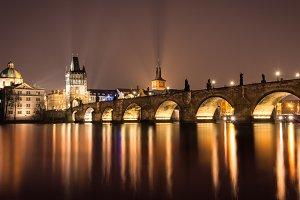 view of Prague and Charles Bridge