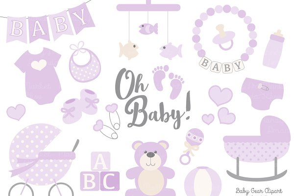 Vector Baby Clipart in Lavender