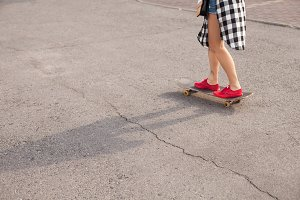 The woman with her skate