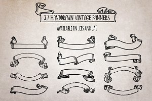 27 Handdrawn Vintage Banners