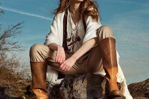 model woman in mountain