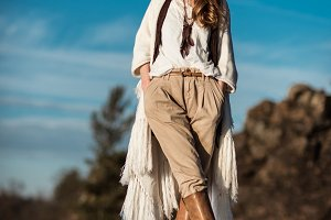 woman outdoors fashion portrait