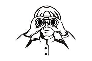 Male Looking Binoculars