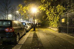 Sidewalk road at the night