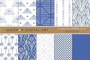 Digital Papers-Blue Orchid