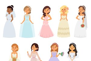 Bride girl in white dress vector