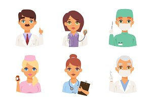 Medical staff people vector set