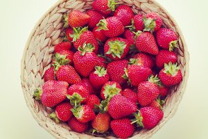 Strawberries in wicker basket