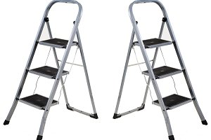 Three steps folding ladder isolated