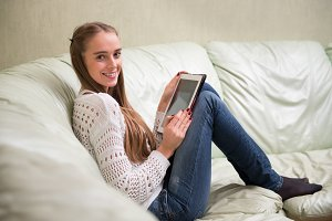 Young woman with tablet pc