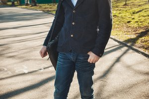 man wearing a casual black jacket