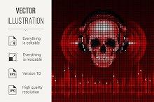 Skull in headphones. Disco backgroun