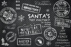 Santa's Toy Factory - Chalk Stamps
