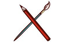 Crossed Pencil Artist Brush Retro