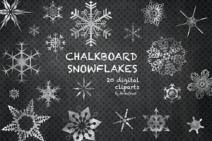 Chalkboard Snowflakes Cliparts