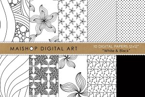 Digital Papers - White & Black