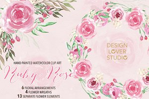 Watercolor Ruby rose wreaths