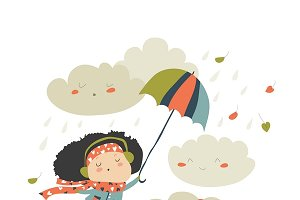 Girl flying with umbrella