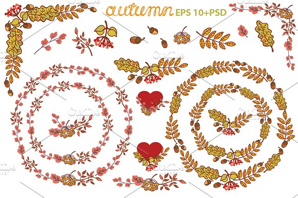 Autumn leaves wreath set. Clipart 1 - Illustrations