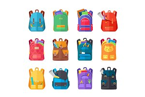 Colored School Backpacks Set