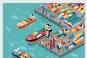 Isometric Commercial Sea Port