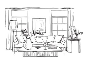 Hand drawn room interior
