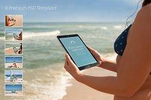 Beach Mockup Bundle – 6 Premium PSDs