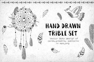 Hand Drawn trible vector set