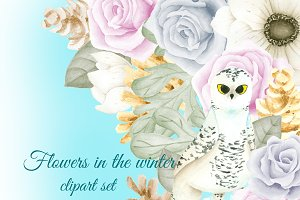 Winter flowers clipart