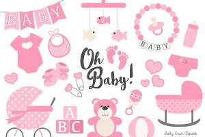 Vector Baby Clipart in Pink