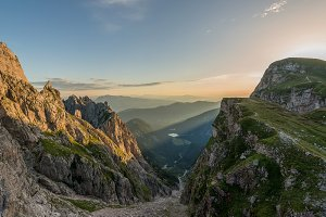 Sunrise in the mountains in Alps