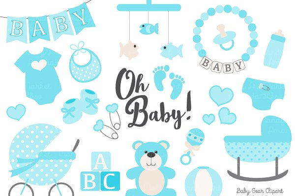 Vector Baby Clipart in Tropical Blu…