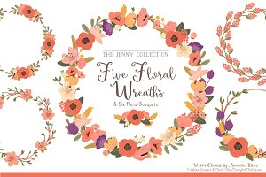 Antique Peach Floral Wreaths