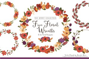Floral Vector Wreaths in Autumn