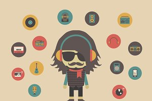 hipster listening concept