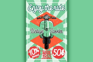 Color vintage scooter poster