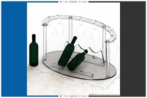 Wine Bottle & Glass Display