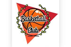 Color vintage basketball emblem