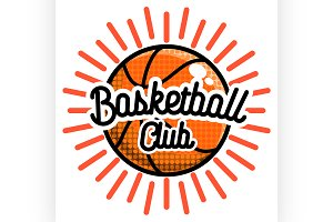 Color vintage basketball emblem