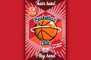 Color vintage basketball poster