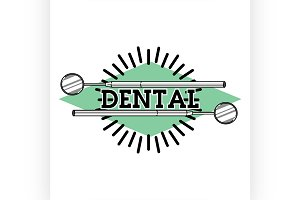 Color vintage dental emblem