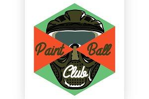 Color vintage paintball emblem