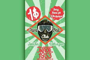 Color vintage paintball poster